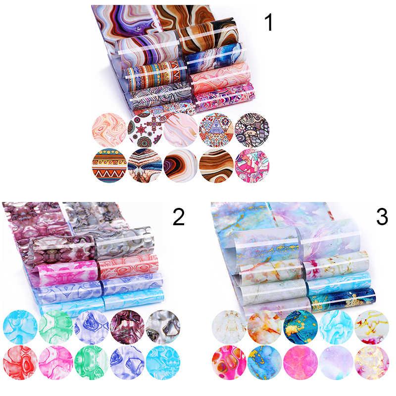 10Pcs Nagel Folie Aufkleber Set Marmor Blume Design Vergoldung Muster Transfer Aufkleber Slider Papier Nagel Kunst Dekorationen