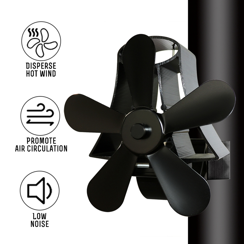Wall Mounte 5 Blade Heat Fireplace Fan Stove Fan Powered Stove Komin Fan Wood Burner Eco Friendly Quiet Fan Distribution Heat
