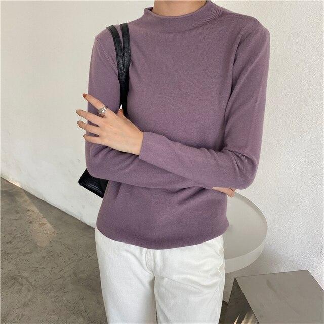 Фото корейский стиль повседневный базовый осенне зимний свитер женский цена