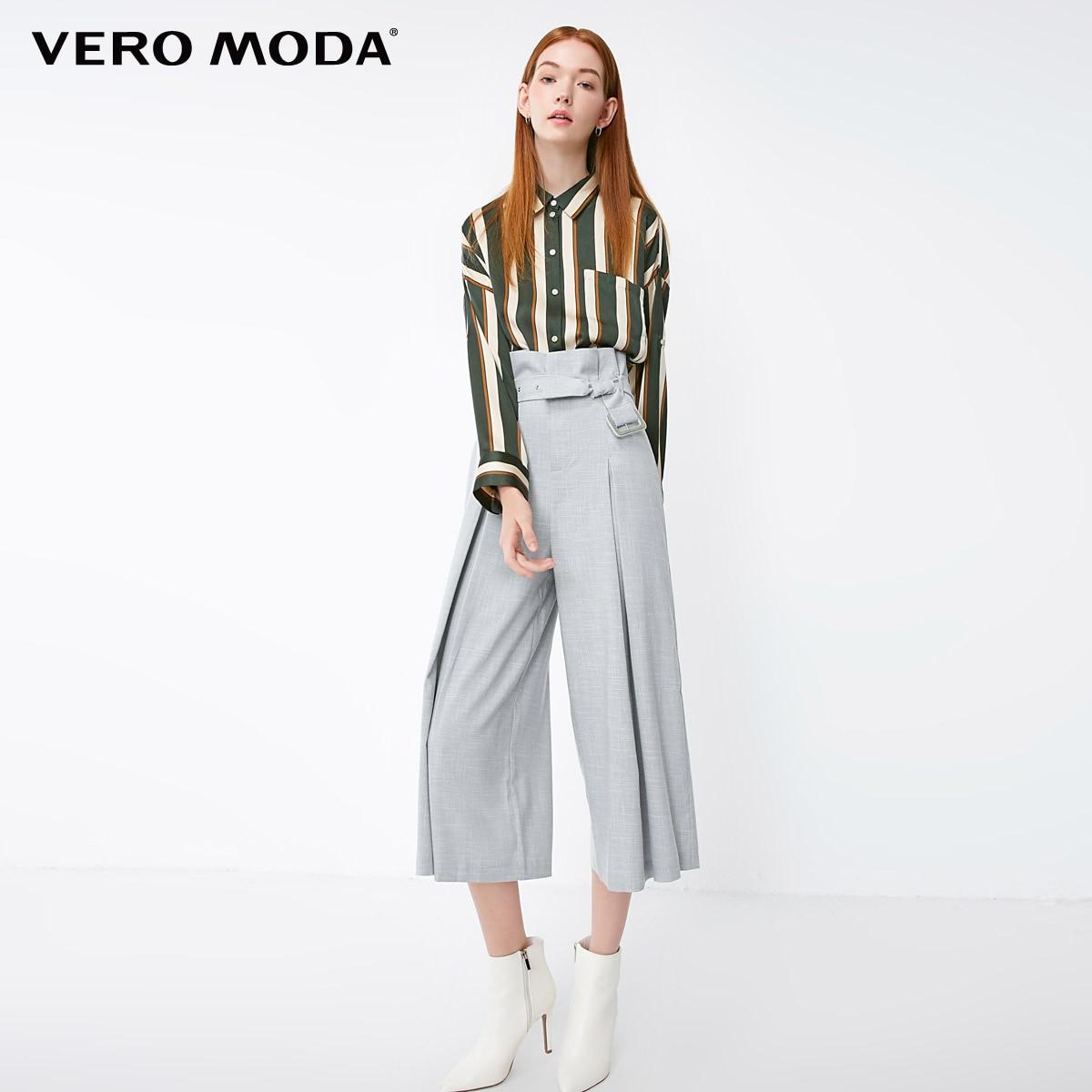 Vero Moda 2019 New Arrivals OL Style Women's High Waist Lace-up Casual   Capri     Pants   | 31846J502
