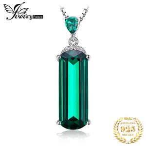Image 1 - Jpalace Simulated Nano Emerald Pendant Necklace 925 Sterling Silver Gemstones Choker Statement Necklace Women No Chain