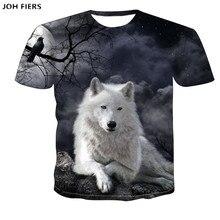 JOH FIER Wolf T shirt Men Animal Tshirt Anime Clothes Magic 3d Print T-shirt Hip hop Tee Cool Mens Clothing 2019 New Summer Tops men wolf 3d print tee