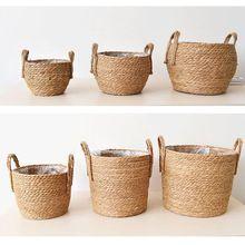 北欧手作りわら収納バスケット籐のフロア屋内植木鉢プランター工芸品の装飾家のリビングルームの花のバスケット