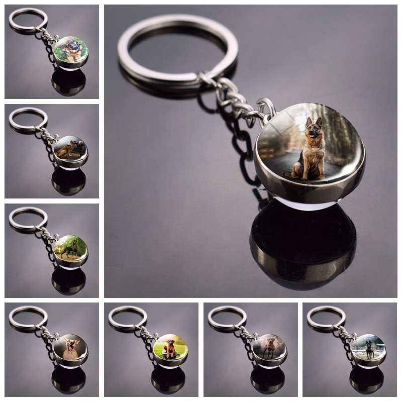 Dog Keychain Lovely Dog Picture Glass Ball Key Chains Animal Keychain Jewelry For Men And Women Dog Lovers Gifts Dropshipping
