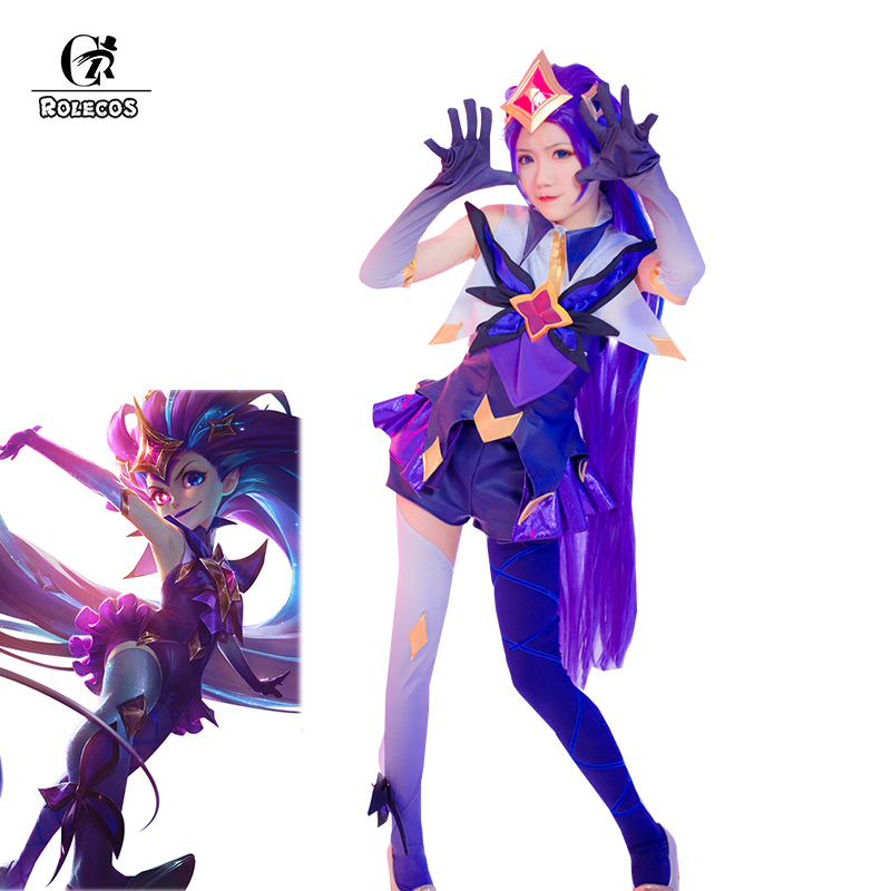 ROLECOS Game LOL Zoe Cosplay Costume LOL Star Guardian Zoe Cosplay Costume Purple Sexy Dress Pants Women Uniform Full Set