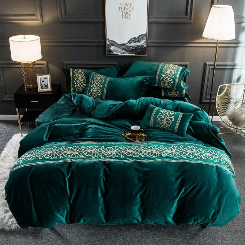 Flanela de veludo macio quente capa de edredão conjunto com chique bordado rendas rainha rei tamanho 4 pçs conjunto cama com cabido/plana lençóis - 2