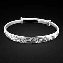 Novo feminino 925 pulseira de prata boêmio padrão esculpido pulseira ajuste livre jóias finas sólida pulseira de prata presente