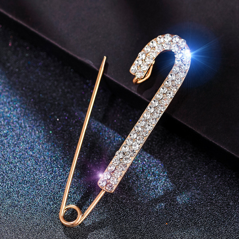 Ajojewel Simple Rhinestone Large Safety Pins For Cardigan Coat Sweater Costume Jewelry Women Accessories