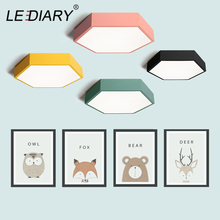 LEDIARY LED Ceiling Lamp Macaron 7 Color 15W 96-265V Hexagon Surface Mounted Living Room Study Bedroom Nordic Light