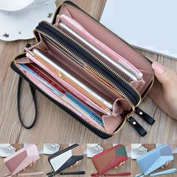 Women Zipper PU Leather Wallet Large Capacity Fashion Casual Simple Patchwork Waterproof Lady Wrist Band Handbag Card Phone Bag
