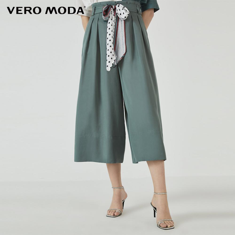 Vero Moda Women's Waist Belt Lyocell Fabric Wide-leg Capri Pantskirt | 31936J539