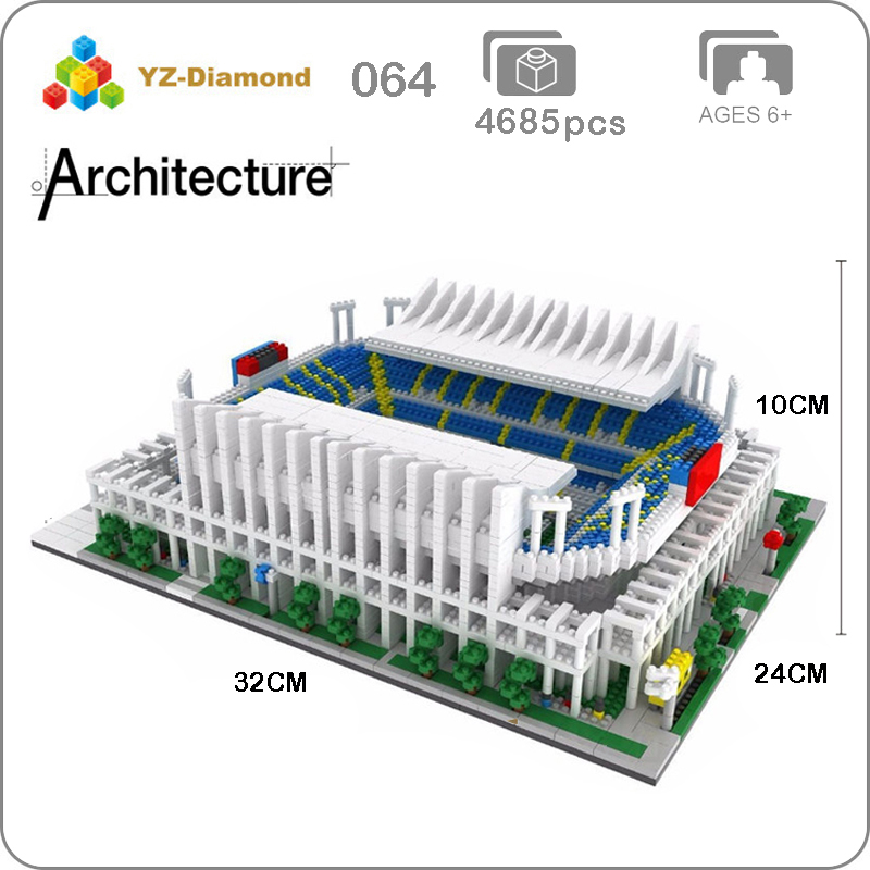YZ 064 العالم الشهيرة العمارة البرتغال ملعب لكرة القدم ملعب 3D نموذج البسيطة الماس بناء كتل الطوب لعبة صغيرة لا مربع-في حواجز من الألعاب والهوايات على  مجموعة 1