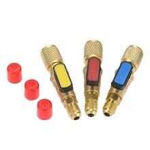 3 adet/takım Br R410A soğutucu düz küresel vanalar AC şarj hortumları Br 1/4 inç erkek 1/4 inç/5/16 inç dişi SAE V