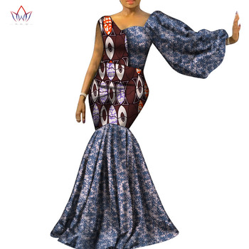 Made in China Fashion African Dresses for Women Dashiki One Sleeve Elegant African Clothes Bazin Plus Size Party Dress WY7259