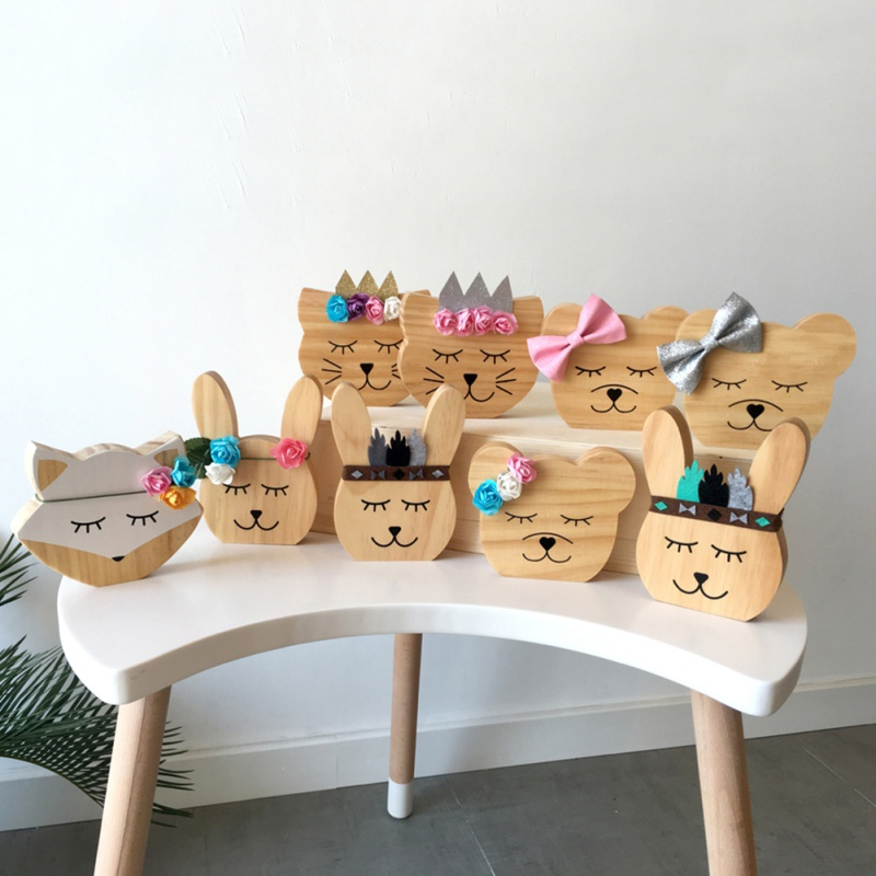 INS Nordic Wooden Animal Ornaments Kids Room Decorations Wall Art Miniature Figurines Wood Toys Nursery Decor Photography Props
