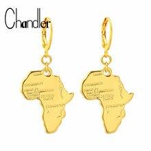 Chandler Color dorado Vintage África mapa arete de Aro para las mujeres etíopes joyas tarjetas africanas Hip-hop pendientes de fiesta para regalo