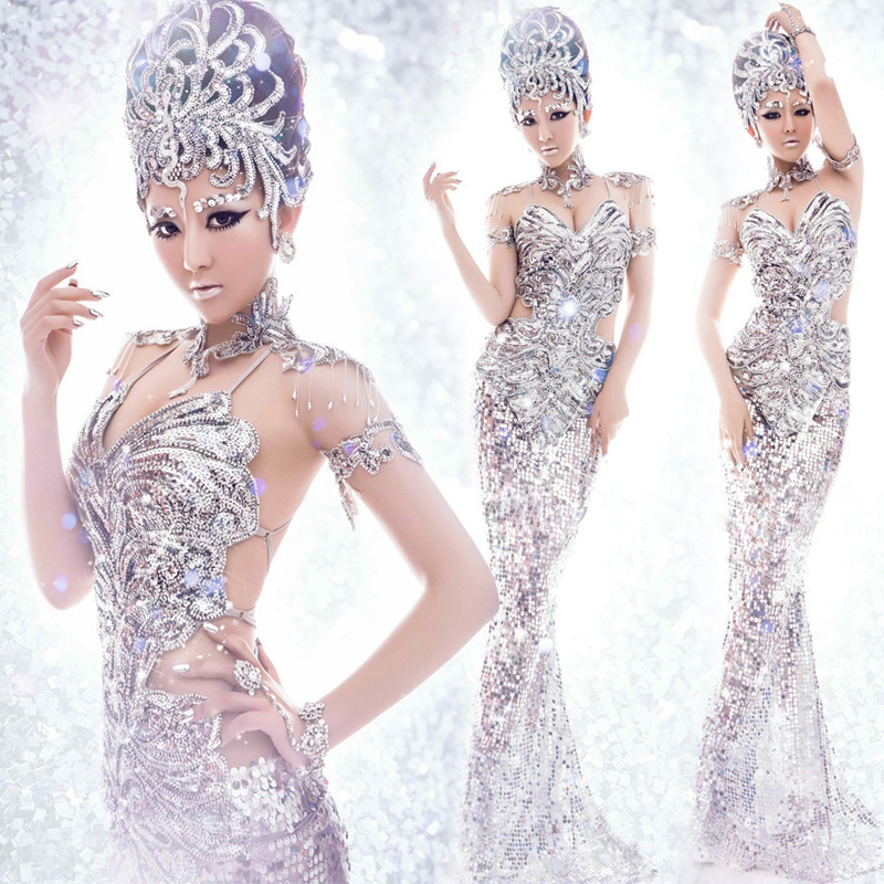 silver sequin stage clothes halloween cosplay women sexy club wear pretty queen costumes club party dress silver singer costumes