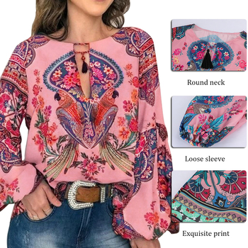 2019 Casual Vintage Shirt Blouse Women Floral Printed Lantern Sleeve Plus Size Women Tops And Blouse V Neck Blusas Mujer De Moda 3