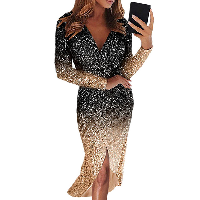 Movokaka Night Dress Women 2021 Long Sexy Sequins Dresses For Women Party Gradient Color Dresses Woman Long Sleeve Women's Dress 5