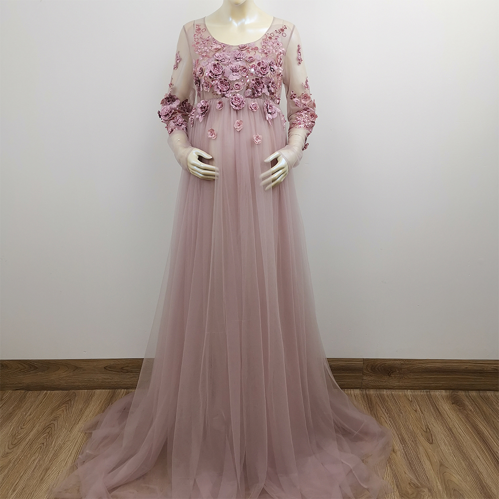 3d Floral Embroidery Maternity Dress Party Evening Gown Tulle Dress Photography Ebay