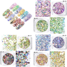 12Jars/set Mermaid Nail High Flash Colorful Mix Sequins For Art Decoration Holographic Glitter Manicure Shinny