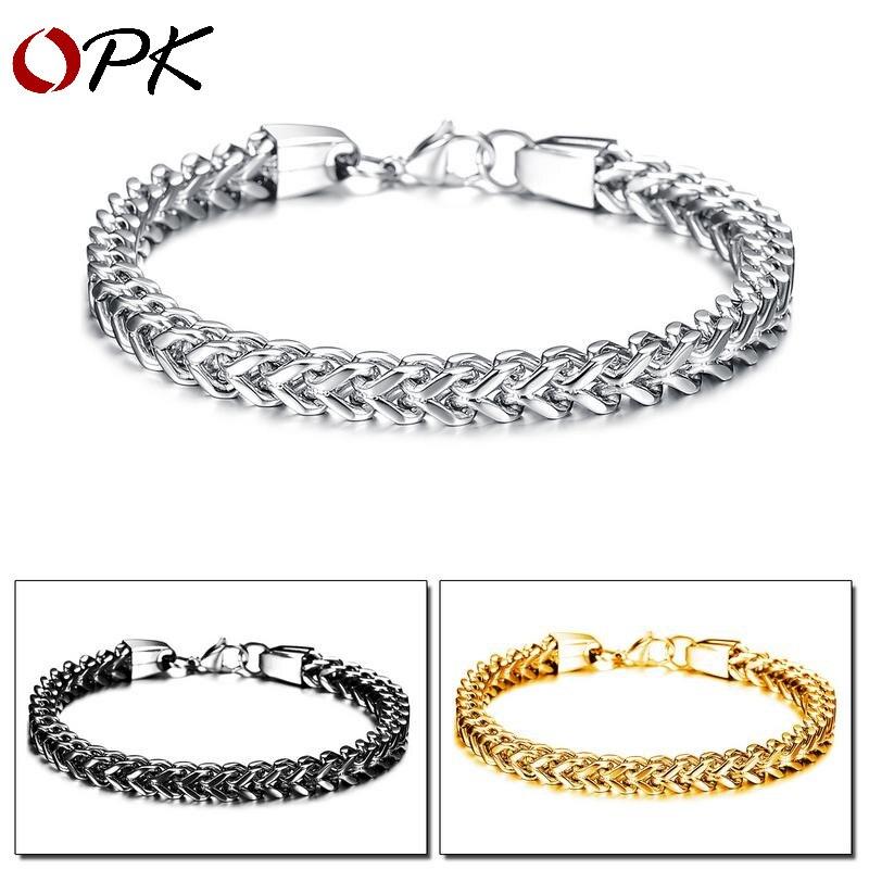 OPK homme simple bijoux de mode personnalité carré écaille de poisson homme titanium bracelet en acier