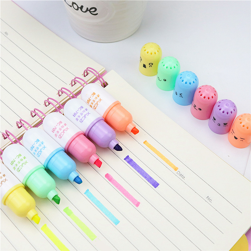 Super Cute Capsule Highlighter Naughty Expression Bright Watercolor Coloring Pen Sentence Marker School Student Stationery