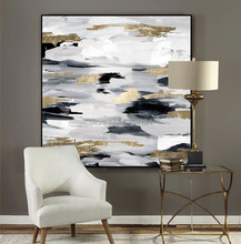Hand Painted Modern Black and White Gold Foils Abstract Oil Painting on Canvas Wall Art Pictures for living Room Home Decor