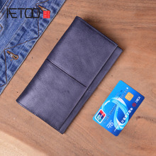 AETOO Genuine Leather Men Wallets Long Credit Card Holder Phone Money Bag Coin Purse Male Clutch Bags Wallets Handy