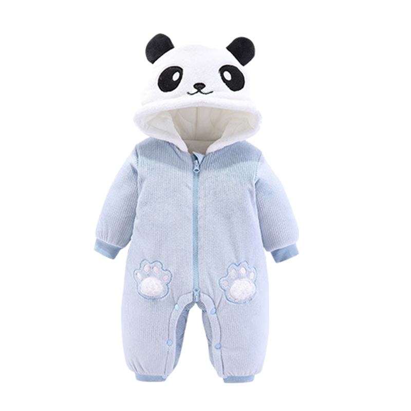 Sweet Newborn Baby Boy Girl Panda Hooded Zipper Romper Jumpsuit Outfits Clothes