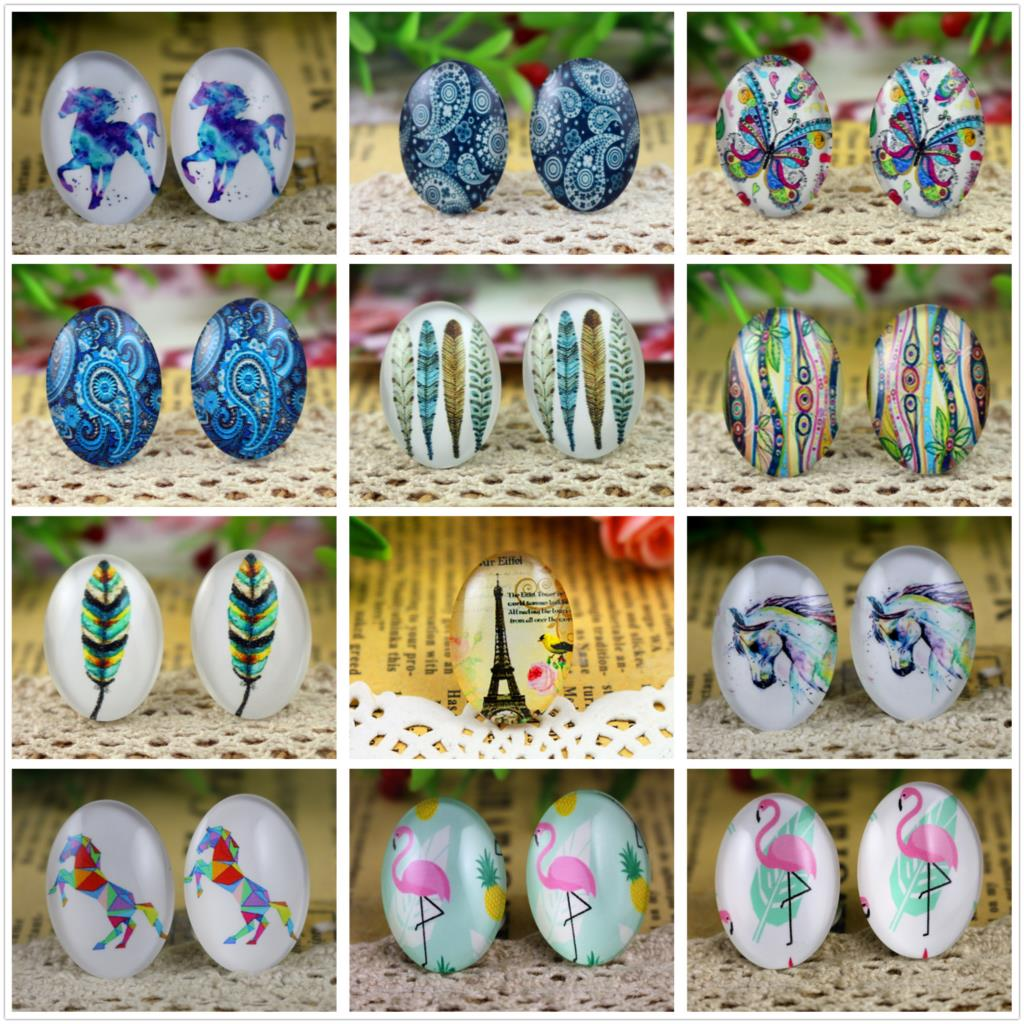 Hot Sale 10pcs 18x25mm New Fashion 17 Style Handmade Photo Glass Cabochons Pattern Domed Jewelry Accessories Supplies