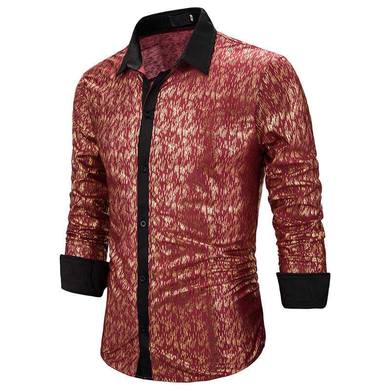 2019 neue Männer der Ptinted Langarm Party Shirts Männlichen Rot Gold Slim Fit Hochzeit Business Hemd Männer Nachtclub Sexy hemd Tops 2XL