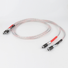 Pair Hight Quality Valhalla 7N silver plated audio RCA interconnect cable with Carbon fiber RCA plug connector