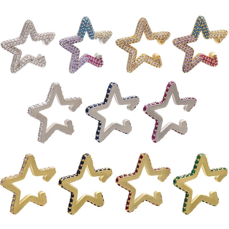 ZHUKOU 1piece 2020 small crystal star ear cuffs AAA Cubic Zirconia ear clips earrings for women Wedding Jewelry model:VE162
