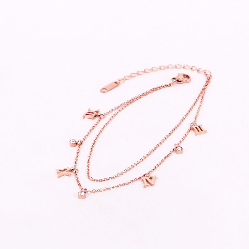 Double-layer Classic Design Roman Numeral And 3 Zircon Anklet Stainless Steel Rose Gold Color Anklet Woman Love Valentine Gift