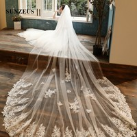 Long Wedding Veil 4M Length 3M Width Cathedral Bridal Veils With Appliques Bruids Sluier velo sposa champagne LVV12