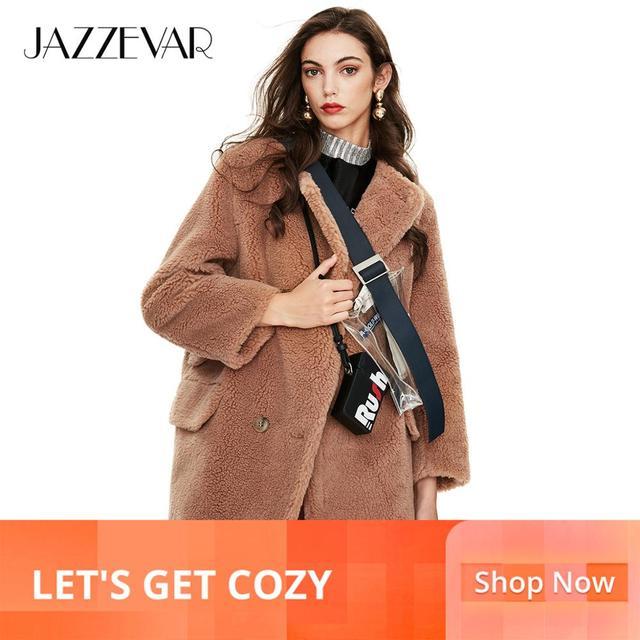 JAZZEVAR 2019 zima nowy nabytek futro płaszcz kobiety luźne odzież wysokiej jakości średniej długości styl gruby ciepły płaszcz zimowy k9064 1 tanie