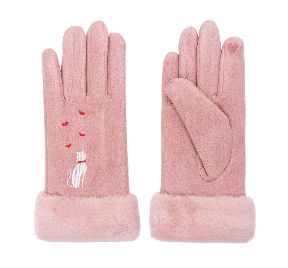 Winter Women Touch Screen Gloves with Embroidery made with a Special Conductive Fabric into Finger Tips for fast Navigation of All Touch Screen Device 17