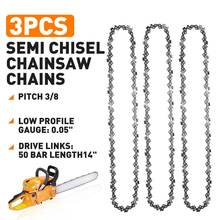 3 pcs Semi Chisel Chainsaw Chains Electric Saw Chain Replacement 3/8LP 0.05 50DL for Stihl MS170 MS171 MS180 MS181