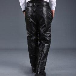 2020 Nieuwe Mode Heren Echt Leer Koe Bont Voering Lange Broek Mannelijke Broek Pantalon Homme Pantacourt Homme Winter Plus Size