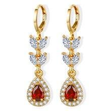 LINDLEY 2020 Water drop 585 Rose Gold Women's earrings Heart red zircon earring for women luxury Jewelry Wedding aretes de mujer
