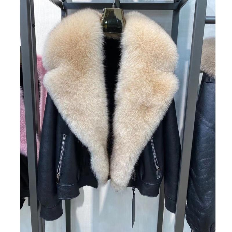 H9e71e090118143e8bd78885215b29e9ea Winter Real Fur Coats Natural Women High Quality Genuine Leather Jacket With Big Fox Fur Turn-down Collar Luxury Overcoats 2021