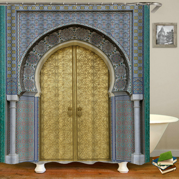 Retro Door Morocco Style Shower Curtains Waterproof Fabric 3d Bathroom Curtains With Hooks Decoration Large 240X180 Bath Screen image