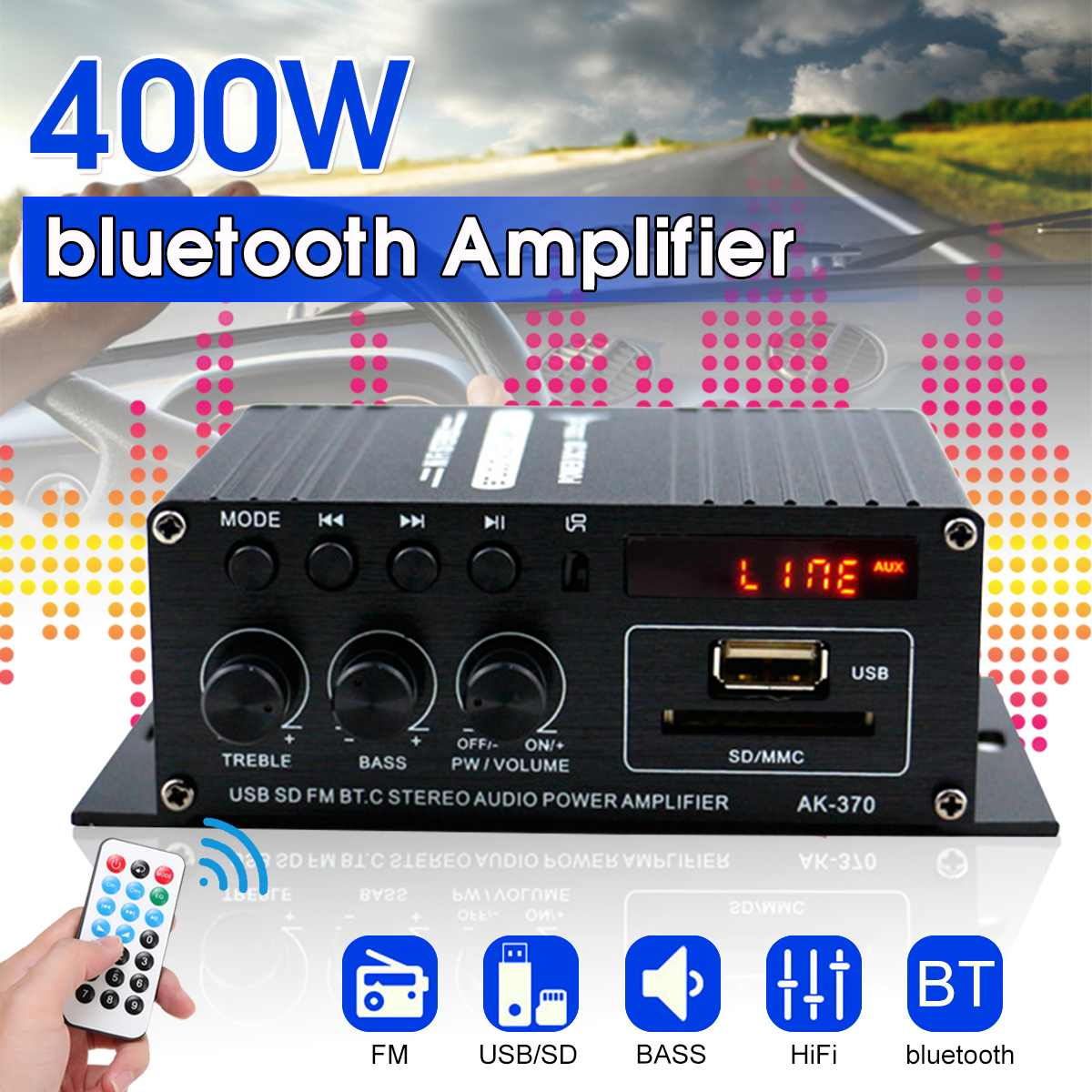400W 2*200W Stereo Hifi Car Home Subwoofer Car Audio Car Amplifier Amp Sound Speaker Bluetooth EDR Audio LED Design Amplifiers