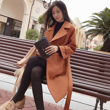 Mishow 2019 autumn and winter woolen coat female Mid-Long New Korean temperament women #8217 s popular woolen coat MX17D9636 cheap NoEnName_Null NYLON Polyester Acrylic Full Wool Blends