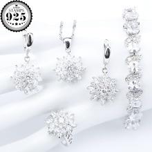 Doğal beyaz zirkonya gümüş 925 kadınlar gelin takı setleri bilezikler yüzükler küpe taşlar kolye & kolye seti hediye kutusu