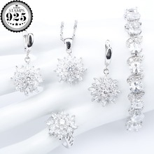 Natural White Zirconia Silver 925 Women Bridal Jewelry Sets Bracelets Rings Earrings With Stones Pendant&Necklace Set Gift Box