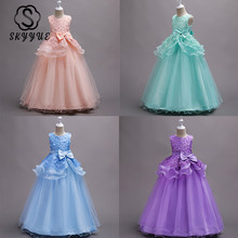 Skyyue Flower Girl Dress for Wedding Applique Crystal Tulle Communion Gown o-Neck sleeveless Kids Party Dresses 2019 722