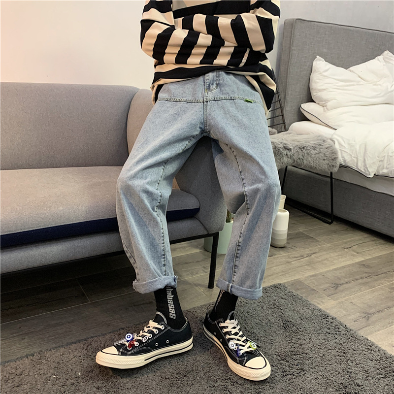 2020 Spring New Style Trend Washing Jeans Hong Kong Flavor CHIC Korean-style Super Fire CEC Loose Straight Dad Pants