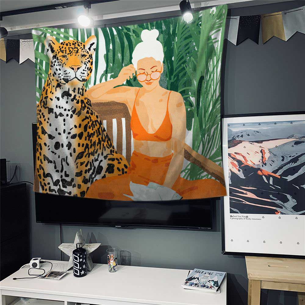 Jungle Tiger Girl tapestry Animal Series Design INS Wall hanging Tapestry Background cloth Boho Decor Wall Cloth Cover Tapestry